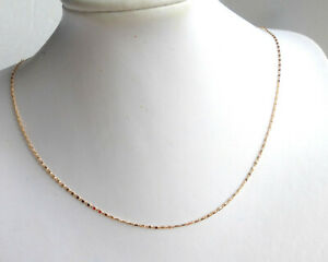Women 18K Yellow Gold Plated 0.8mm Thin Fine Detail Chain Necklace 45cm Choker