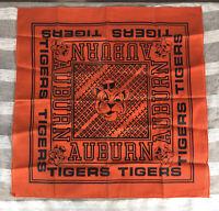 Vintage Auburn Tigers Bandana 1970s 1980s Old Logos 20.5x20.5 War Eagle EUC
