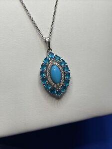 "Sleeping beauty turquoise, apatite, & zircon platinum / sterling pendant 20"""