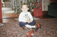 Vintage 1950s Red Border Kodachrome 35mm Slide Boy with Toys Christmas Tree