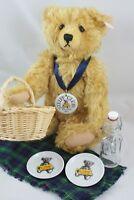 """STEIFF  EAN 420108,13"""" Mohair Teddy Bear PICNIC with Basket NWT, LIMITED EDITION"""
