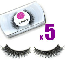 5 x 100% Real Mink Hair Short Cross Fake Eyelashes Eye Beauty Full Lashes