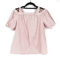 14th & Union Womens Size Large Cold Shoulder Tie Strap Blouse Red White Striped