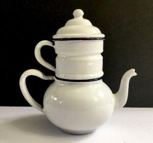 RARE ANTIQUE WHITE ENAMEL GRANITEWARE 3 Part STACKABLE COFFEE POT