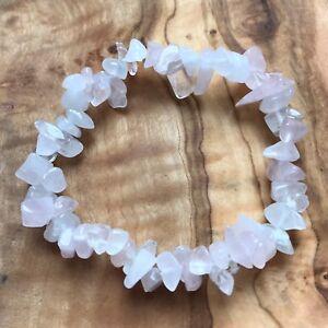 "Rose Quartz Gem Chip Bead Crystal Bracelet 7"" Love Healing Heart Chakra Reiki"