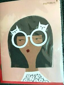 Papyrus Blank Card- Girl with Cat Eyeglasses, Cat Graphic Envelope - Coco & Blu