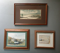 Vintage miniature Watercolor paintings signed