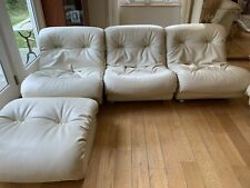 ArtiFort Deco White Leather Sectional, 8 Seats, 2 Footrests, Made In Netherlands