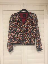 Beautiful Spring Floral Lite Weight Womens TRAFALUC ZARA Bomber Jacket Small