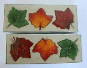 FALL Harvest Autumn New in Box 2 Sets CandleZ Floating Maple Leaves Leaf Candles