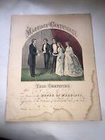 Original Currier & Ives Print Marriage Certificate Big Sheet Unusual