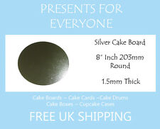 """100 x 8"""" Inch Round Silver Cake Boards FREE SHIPPING"""