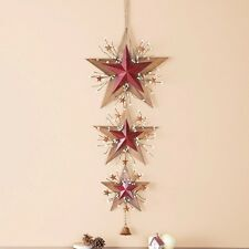 Rustic Primitive Country Barn Stars with Bell Metal Wall Hanging Home Decor