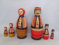 "Set of 6 pcs Ukrainian Hutsul Nesting Doll, Hutsul,Traditional, Hand Painted, 6"""