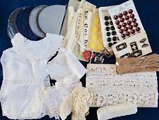 Lot No 5 MERCERIE ANCIENNE boutons boucles ceinture dentelle gants cols ...