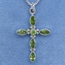 Natural Peridot Small Cross Necklace Sterling Silver Fancy-Dancy Jewelry P200750
