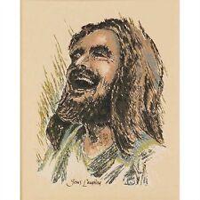 Ralph Kozak JESUS LAUGHING 10x8 MOUNTED TEXTURED Art Print Jesus Christ Smiling