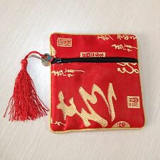 Chinese Embroidery Silk Satin Mini Coin Pouch Purse Wallet Red 0919 (1PCS)