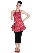 RED NAUTICAL APRON CUTE RETRO KITCHEN COTTON HOUSEWIFE UNISEX PIRATE