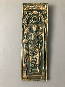 Angel Wall Plaque Green Gold