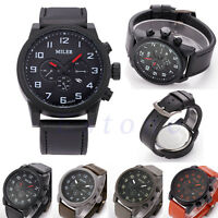 Men Black Dial Stainless Steel Leather Band Date Sport Quartz Analog Wrist Watch