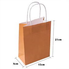 50pcs Kraft Paper Gift Bags Wedding Candy Packaging Jewelry Shopping With Handle