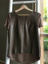Lovely COUNTRY ROAD Taupe Genuine Leather Front Top Blouse Size S EUC