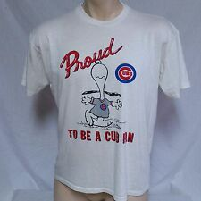 VTG 1988 Chicago Cubs T Shirt Snoopy 80s Peanuts MLB Baseball 50/50 Tee Large