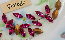 #1239QS Vintage Navettes Pink 8x4mm Bright Faceted Gold Foil NOS Rhinestones