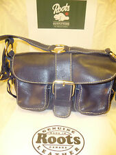 ROOTS CANADA Genuine Electric Blue Leather Handbag New Sale!!!RARE!!!