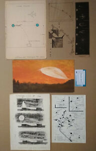 UFOs Observations - 5 USSR Documentary Art Drawings 1979-1993