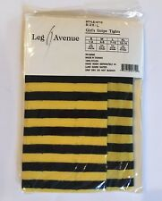 NWT Sz L 7-10 Girls Black and Yellow Stripe Halloween Bee Costume Nylon Tights