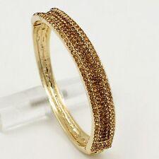 18K Gold Plated GP Topaz Crystal Rhinestone Wedding Bangle Cuff Bracelet 00577