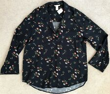 H&M NAVY ENGLISH GARDEN PULL OVER COLLAR BLOUSE NWT! S