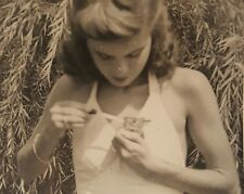 VINTAGE ARTISTIC VERNACULAR PHOTOGRAPHY PHOTO    BUNNY TEEN GIRL HAPPY EASTER