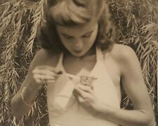 VINTAGE ARTISTIC VERNACULAR PHOTOGRAPHY PHOTO    BUNNY TEEN GIRL HAPPY EASTER