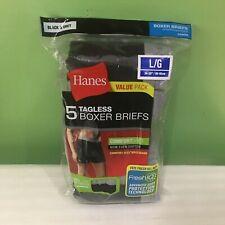 BRAND NEW  5 PK HANES TAGLESS BOXER  BRIEFS UNDERWEAR MEN'S LARGE BLACK & GREY