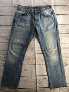 🤍 Nudie Jeans   Tape Ted Indigo Blench  Raw Cropped Hem • Size 31