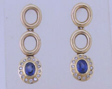 E103 Genuine 9K 9ct Yellow Gold NATURAL Sapphire & DIAMOND Journey Earrings