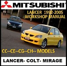 MITSUBISHI LANCER CC CE CG CH CJ 1992-2009 WORKSHOP MANUAL CD COVERS MIRAGE COLT