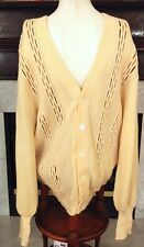 Vintage Quanpaca St. Croix Mens L Cardigan 100% Wool 1970s Light Yellow