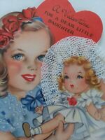 1945 Vtg GIRL w DOLL Real LACE Bonnet DAUGHTER Hall Bros VALENTINE GREETING CARD