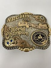 World Champion By Gist Belt Buckle Sterling Overlay 1/10 10k Hand Engraved