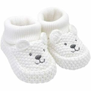 Carter's Baby-Booties Neutral Soft Sole Bear Knit Bootie Slipper, White, Newborn