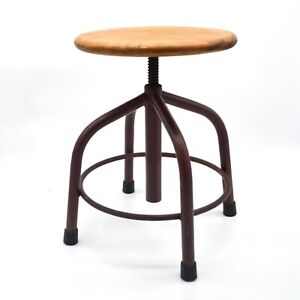 Vintage Antique industrial lab school bench stool adjustable height wood -e