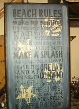 PRIMITIVE SIGN~~SUMMER~~BEACH RULES~~FLIP FLOPS~SEASHELLS~SANDCASTLES~SPLASH~~