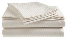 Full Size White 400 Thread Count 100% Cotton Sateen Dobby Stripe Sheet Set