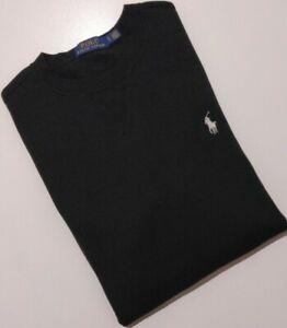 POLO Ralph Lauren Mens Fleece Crew Neck Sweatshirt Jumper, BLACK, Size S