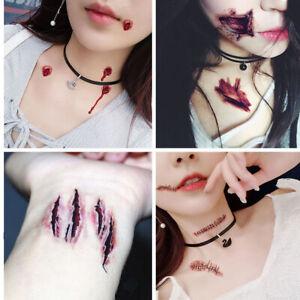 Fake Pretend Scars Stitches Bite Bullet Hole shot Tattoo transfer vampire⭐zombie