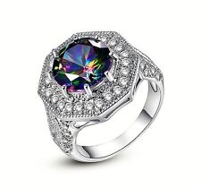 Neu Multicolor Mystic Topas Zirkon Edelstein Sterlingsilber 925 Ring Gr.17,8 mm